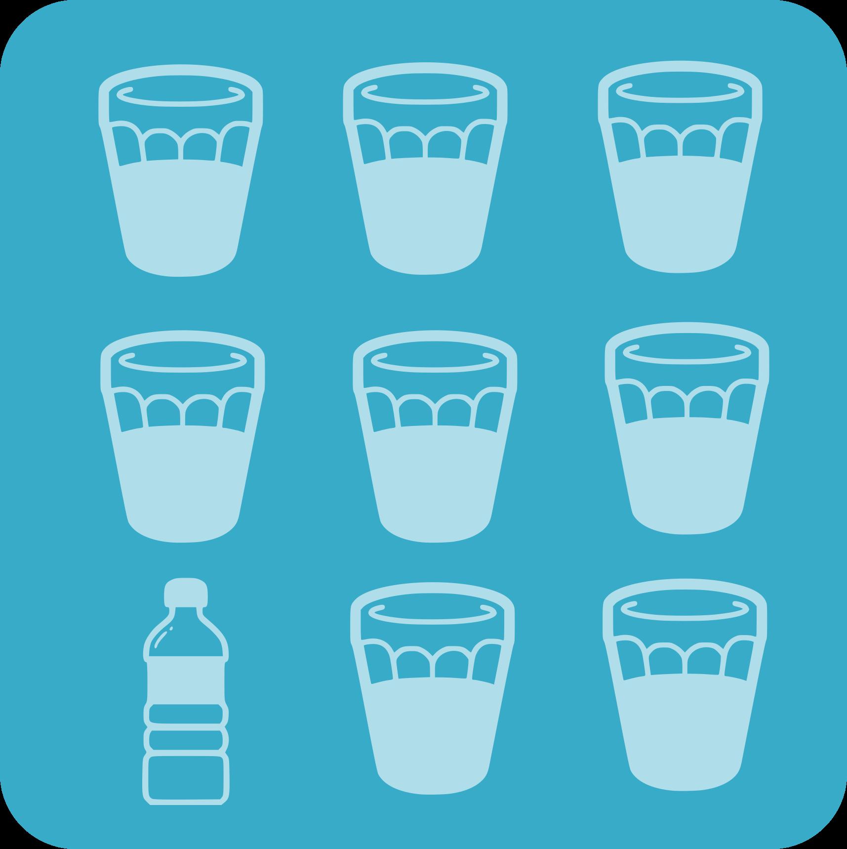 8 vasos de aigua