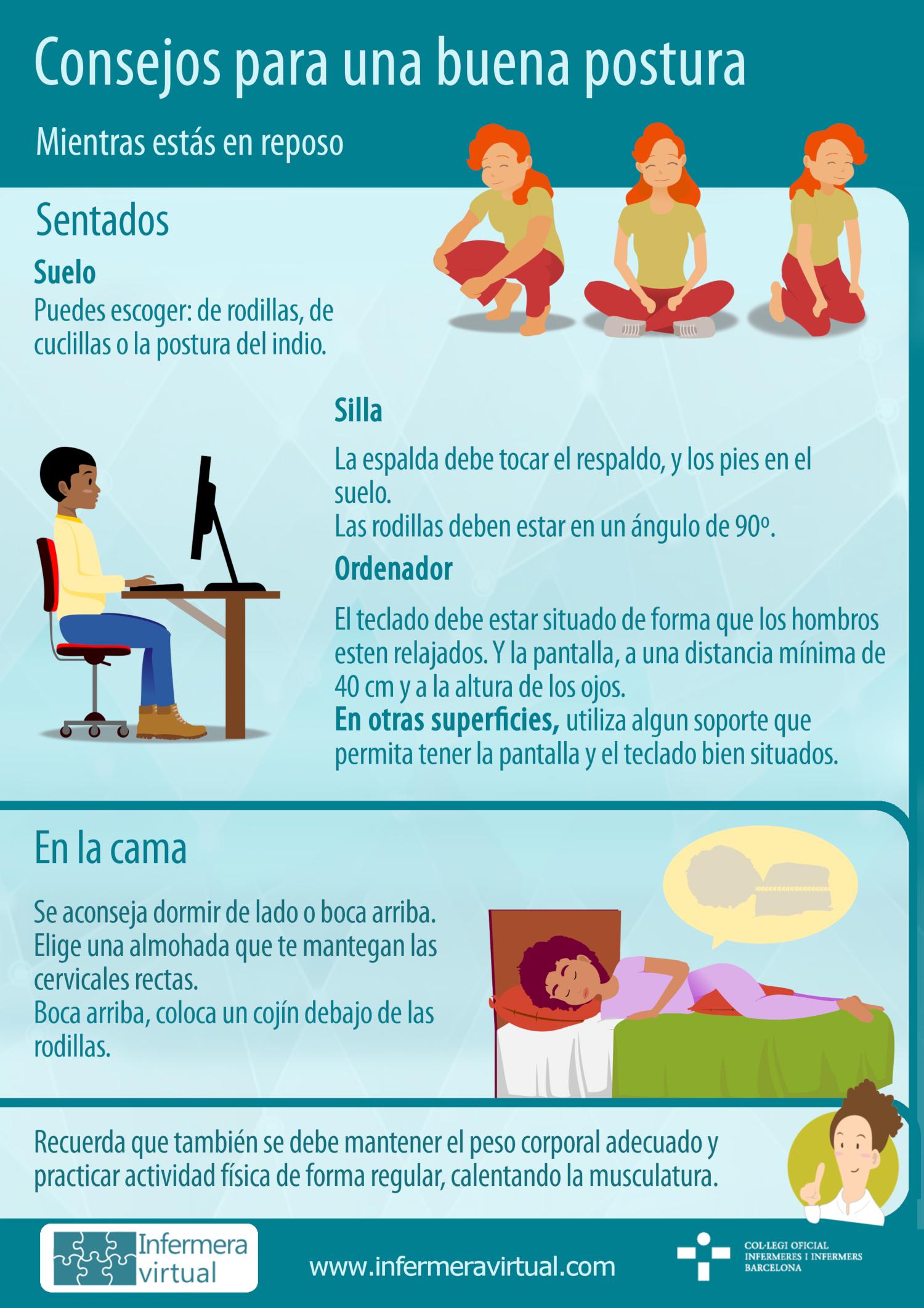 Infografía higiene postural en reposo